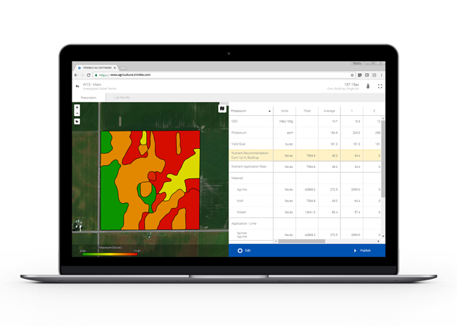 Trimble's robust management zone help crop advisors find patterns from multiple data layers, such as imagery, EM/EC, elevation or yield data.
