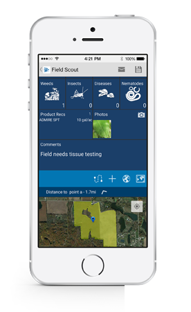 Crop advisors can use Trimble's farming app to scout fields for pests and weeds.