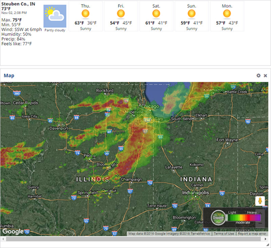 Farmer Starter can track weather events.