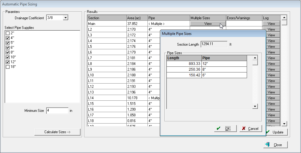 Automatic pipe sizing feature for farm drainage software