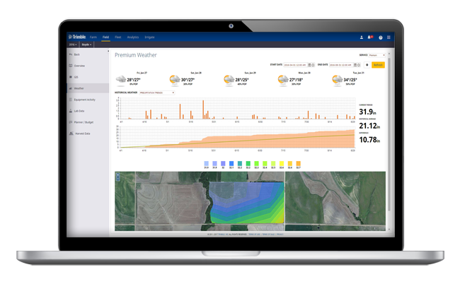 View rainfall for each field without checking rain gauges.