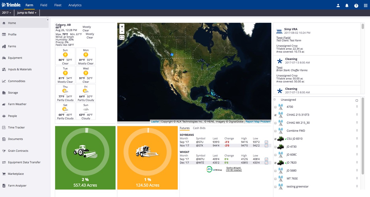 Trimble Ag Software dashboard