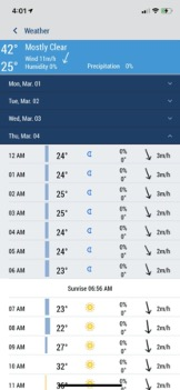 Screenshot of the increased time for weather.